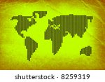 dotted world map on old paper... | Shutterstock . vector #8259319