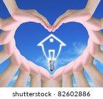 light bulb model of a house in... | Shutterstock . vector #82602886