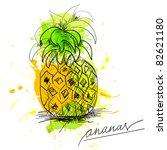 sketch of pineapple   Shutterstock .eps vector #82621180