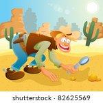 cowboy finding gold | Shutterstock .eps vector #82625569