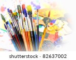 brushes with oily paint on an... | Shutterstock . vector #82637002
