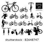 vector bicycle silhouette set ... | Shutterstock .eps vector #82648747
