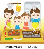 family cooking together happily | Shutterstock .eps vector #82652461