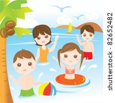 family playing and swimming in... | Shutterstock .eps vector #82652482