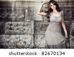 young woman in summer dress ... | Shutterstock . vector #82670134