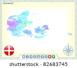 denmark map with flag buttons...   Shutterstock .eps vector #82683745