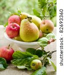 Fresh Ripe Pears And Apples In...
