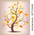 autumn tree with yellow leaves | Shutterstock .eps vector #82712668