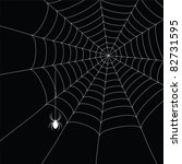 white  spider and spider web isolated on the  black background - stock photo