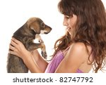 girl and her dog | Shutterstock . vector #82747792