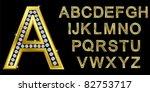 golden alphabet with diamonds ...