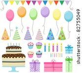 set of vector birthday party... | Shutterstock . vector #82755049