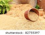 Brown rice paddy - stock photo