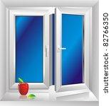 white plastic window - stock vector