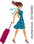 woman with a luggage bag.... | Shutterstock .eps vector #82766482