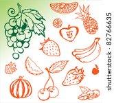 set fresh fruits | Shutterstock .eps vector #82766635