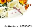 """says """"I love you"""" on the background of floral bouquet - stock photo"""