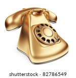 Vintage gold phone. 3d illustration isolated - stock photo