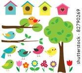 set birds with birdhouses ... | Shutterstock .eps vector #82790269