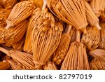 Marrakesh, Morocco: Close-up of dried dill flower bulbs in a traditional souk street market, Marrakesh, Morocco - stock photo