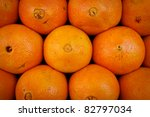 Marrakesh, Morocco: Close up of oranges in a market, Marrakesh, Morocco - stock photo