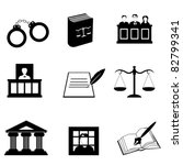 Justice, law and legal icon set - stock vector