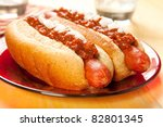 Perfect for the big game, a picnic, or anytime chili dogs with onions - stock photo