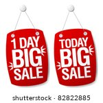 One Day Sale signs set. - stock vector