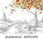 autumn tree  falling leaves | Shutterstock .eps vector #82901044