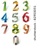 origami style numbers set. | Shutterstock .eps vector #82903051