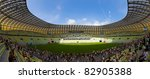 GDANSK, POLAND - AUGUST 6: Open Day at the newly built PGE Arena. 80,000 spectators visited the stadium on August 6, 2011 in Gdansk, Poland. The stadium will be used for Euro 2012. - stock photo