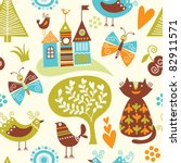 seamless pattern with cartoon... | Shutterstock .eps vector #82911571