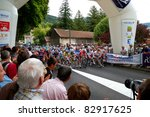 """Small photo of NANTUA, FRANCE - AUG 12: Professional racing cyclists starting UCI WORLD TOUR """" TOUR DE L'AIN"""" on August 12, 2011 in Nantua, Ain, France."""