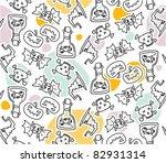 halloween seamless doodles... | Shutterstock .eps vector #82931314