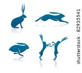 Stock vector vector hare icons includes a sitting hare leaping hare running hare and a pair of boxing hares 82935541