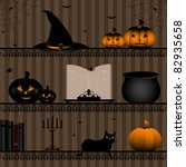 shelf with halloween collection   Shutterstock .eps vector #82935658