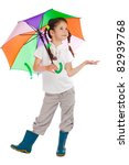 Little girl holding color umbrella,checking for rain, isolated on white - stock photo