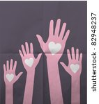 Loving Hands On Paper Background