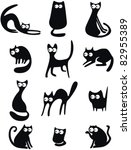 Stock vector set of black cat silhouettes 82955389