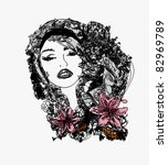 abstract beautiful woman doodle ... | Shutterstock .eps vector #82969789