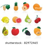 set of fruits icons | Shutterstock .eps vector #82972465