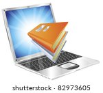 Book icon coming out of laptop screen concept for ebooks, reader apps,  online database, elearning. - stock photo