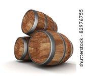 image of the old oak barrels on ... | Shutterstock . vector #82976755