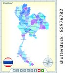Thailand Map with Flag Buttons and Assistance & Activates Icons Original Illustration