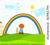 illustration of kid and dog... | Shutterstock .eps vector #82982794