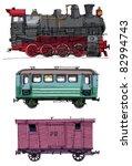 Vintage Wagons And Locomotive