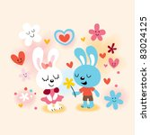 bunnies in love - stock vector