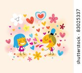boy and girl fall in love - stock vector