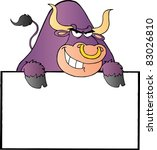purple bull and blank sign | Shutterstock .eps vector #83026810