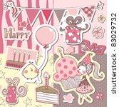 happy birthday scrapbook set | Shutterstock .eps vector #83029732